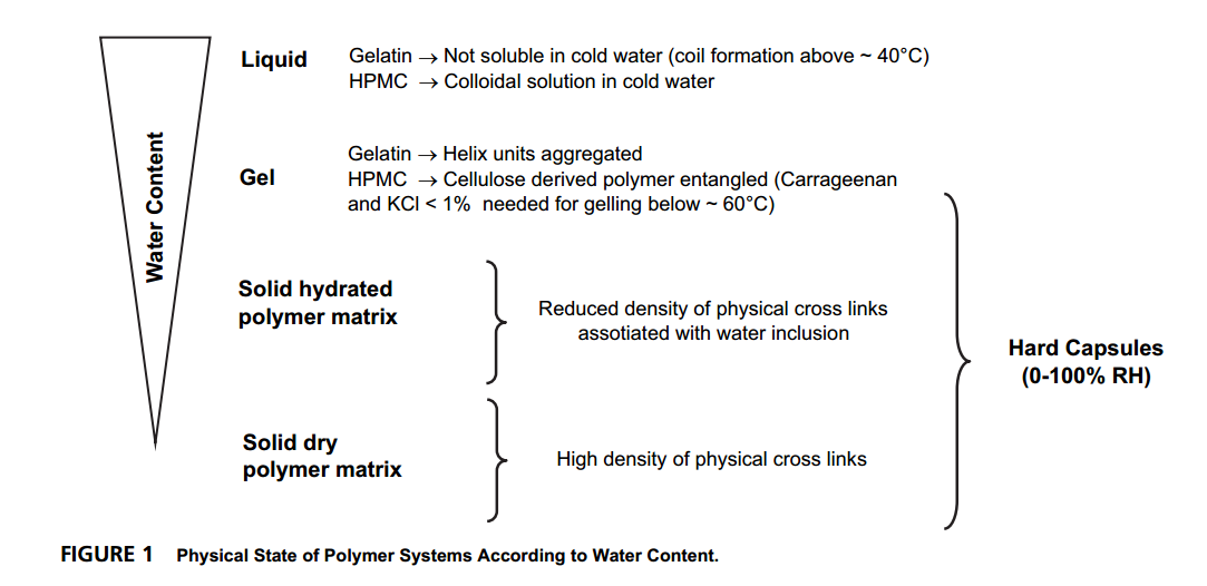 Physical State of Polymer Systems of the Gelatin and HPMC According to Water Content