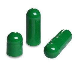 Picture of Size 0 dark green empty gelatin capsules